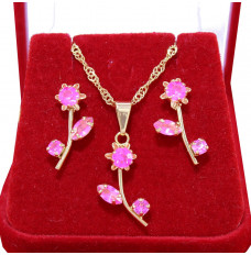 Conjunto Flor Acrílica Rosa